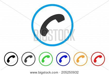 Phone Receiver Hang Up rounded icon. Style is a flat phone receiver hang up gray symbol inside light blue circle with black, gray, green, blue, red, orange versions.