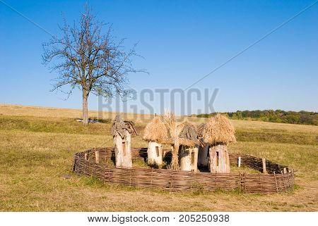 Old Authentic apiary in Ukraine apiculture landscape