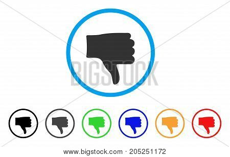 Thumb Down rounded icon. Style is a flat thumb down gray symbol inside light blue circle with black, gray, green, blue, red, orange color versions. Vector designed for web and software interfaces.