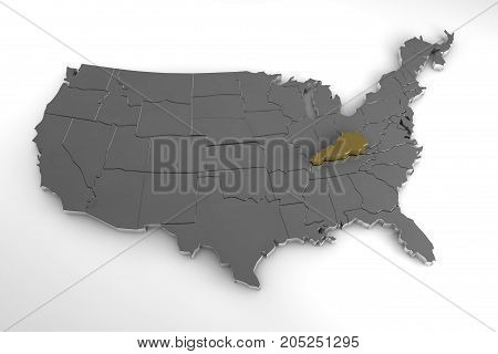 United States of America, 3d metallic map, with Kentucky state highlighted. 3d render