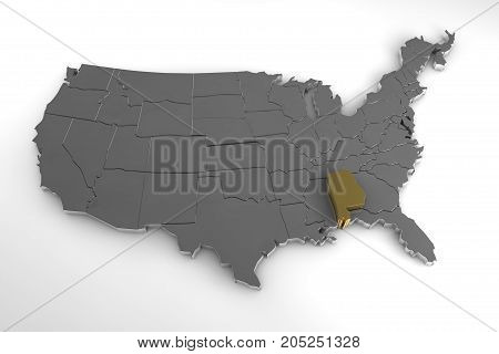 United States of America, 3d metallic map, with Alabama state highlighted. 3d render