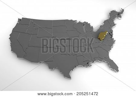 United States of America, 3d metallic map, with West Virginia state highlighted. 3d render