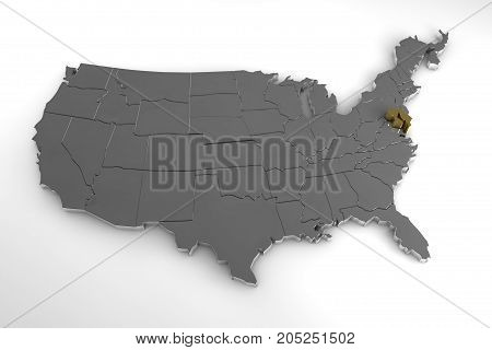 United States of America, 3d metallic map, with Maryland state highlighted. 3d render