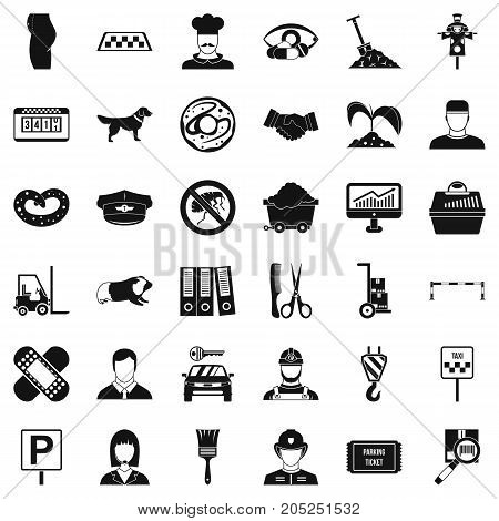 Favorite profession icons set. Simple style of 36 favorite profession vector icons for web isolated on white background