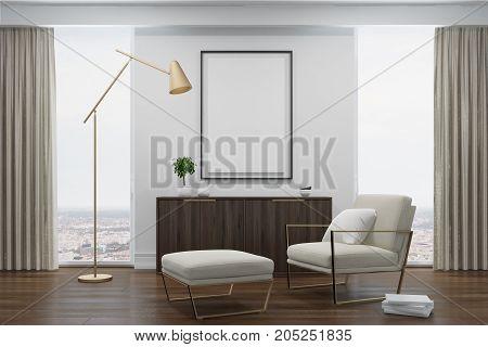 White Living Room, White Armchair