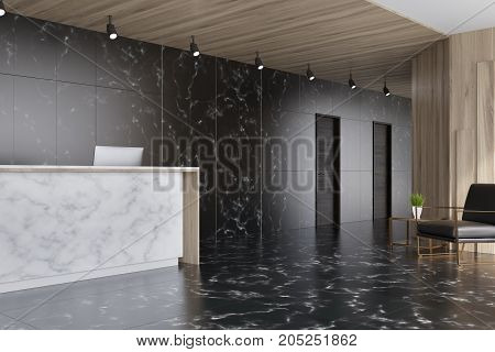 Black Marble And Wooden Elevator Hall, Reception