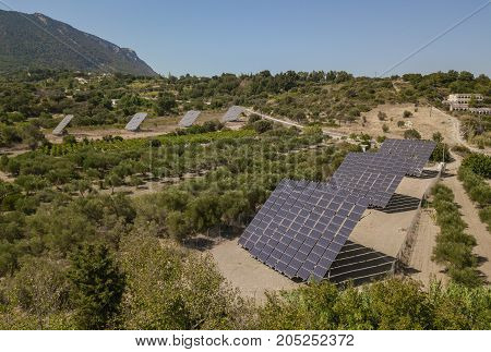 Aerial view of solar pannels in countryside