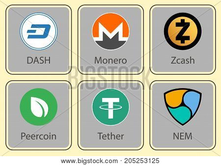 Crypto currency. Character collection of crypto currency.