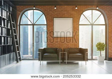 Ceo Office, Bookcase And Two Armchairs Toned