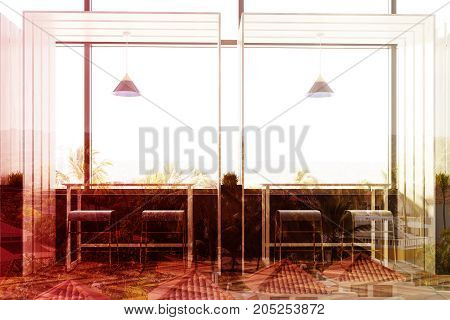 Front view of a wooden cafe interior with loft windows a woden floor and rows of long tables with chairs near them. Panel walls. 3d rendering mock up toned image double exposure