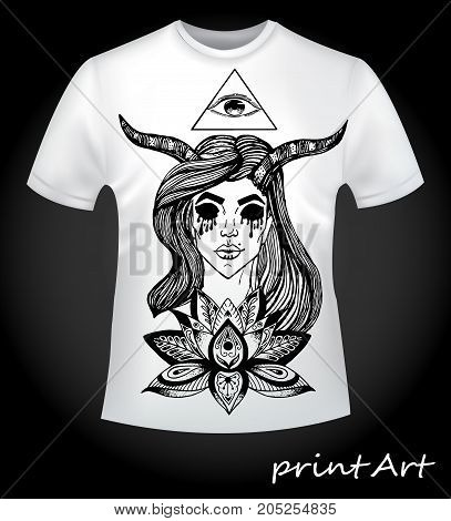 Detailed sketch of a vampire girl with a lotus and all-seeing eye - an idea for printing on a T-shirt
