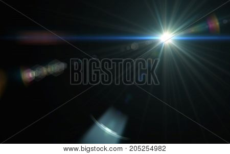 Abstract Digital lens flare in black background.Beautiful digital flare effect.Modern flare and sun light