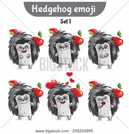 Set kit collection sticker emoji emoticon emotion vector isolated illustration happy character sweet, cute hedgehog