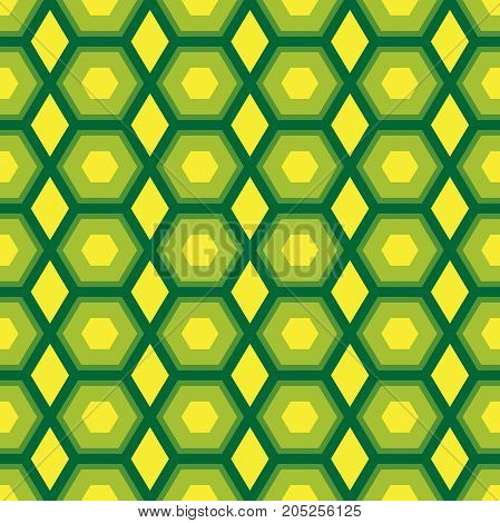 Seamless abstract vector pattern of geometric shapes with concentric hexagonal elements in green and yellow colors