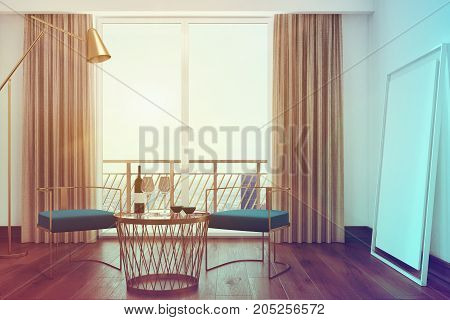 White Living Room Interior, Blue Armchairs Toned