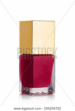 Red Nail Polish Cosmetic Bottle With Golden Top
