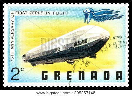 STAVROPOL RUSSIA - September 12 2017: a stamp printed in Grenada shows First Zeppelin Flight series cirka 1975