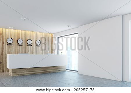 White and light wood office lobby with a long reception counter and clocks showing world time on a wall. Side view. 3d rendering mock up