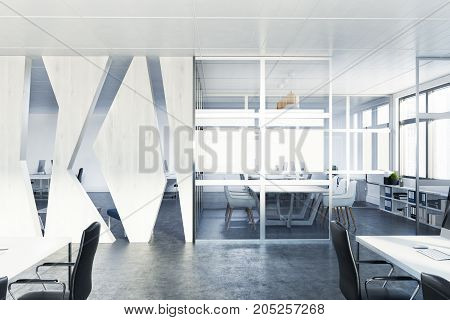 Side view of a glass wall conference room with a wooden decoration elements and panoramic windows. 3d rendering mock up