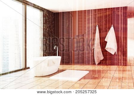 Black Marble And Wooden Bathroom, White Tub Toned