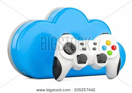 Cloud gaming concept with gamepad 3D rendering isolated on white background