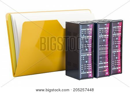 Computer folder icon with servers 3D rendering isolated on white background