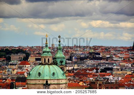 Panorama of old Prague with domes of the temples