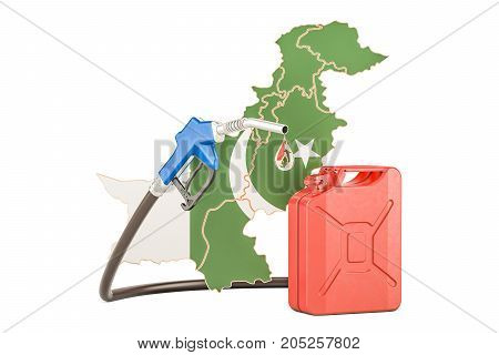 Production and trade of petrol in Pakistan concept. 3D rendering isolated on white background