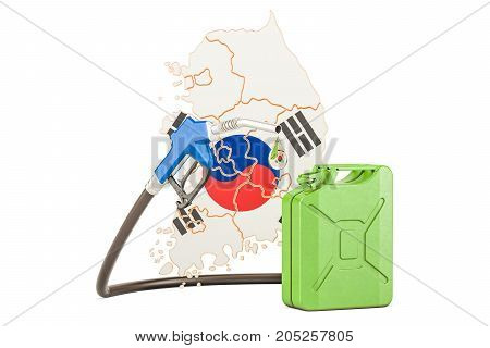 Production and trade of petrol in South Korea concept. 3D rendering isolated on white background