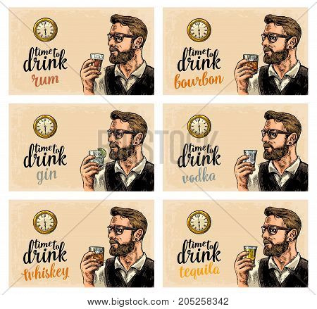 Hipster holding a glasses with alcohol drinks and antique pocket watch. Vintage vector engraving illustration for poster invitation to party. Time to Drink lettering. Isolated on beige background.