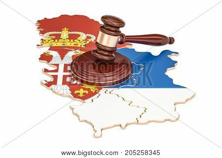 Wooden Gavel on map of Serbia 3D rendering isolated on white background