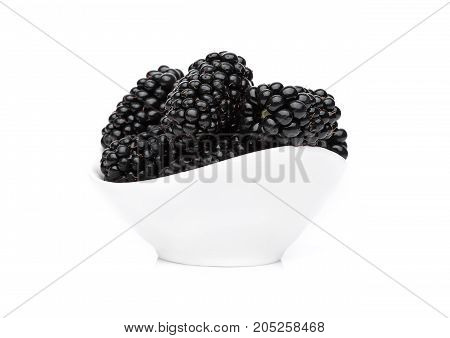 Fresh Healthy Summer Blackberries In White Bowl