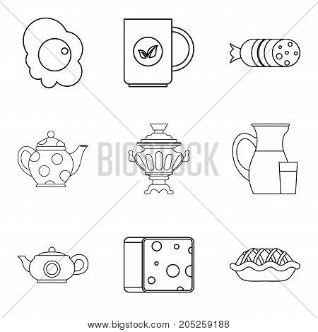 Wad icons set. Outline set of 9 wad vector icons for web isolated on white background