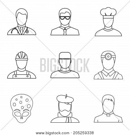 Profession icons set. Outline set of 9 profession vector icons for web isolated on white background
