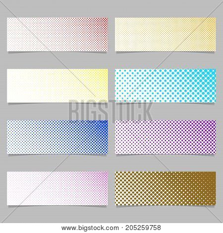 Retro halftone dot pattern banner background design set - horizontal rectangle vector illustrations with circles in varying sizes