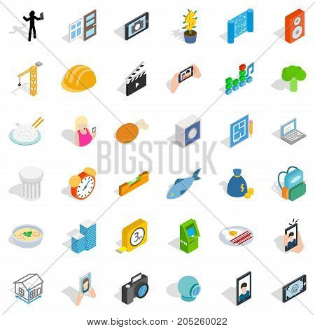 Feature icons set. Isometric style of 36 feature vector icons for web isolated on white background