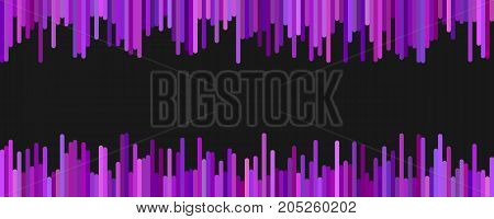 Modern banner background template design - horizontal vector graphic from vertical lines in purple tones on black background