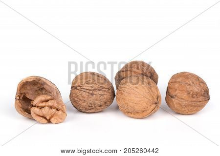 Greece Nuts Walnuts Isolated On White Background