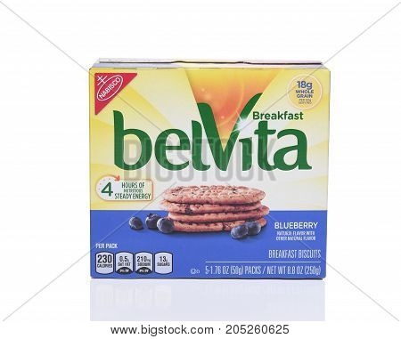 IRVINE CA - SEPTEMBER 22 2017: BelVita Blueberry Breakfast Biscuits. From Nabisco a line of crunchy nutritiuos breakfast biscuits.