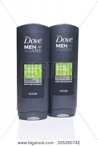 IRVINE CA - SEPTEMBER 22 2017: Dove Men + Care Extra Fresh Body and Face Wash. Dove is a personal care brand owned by Unilever.