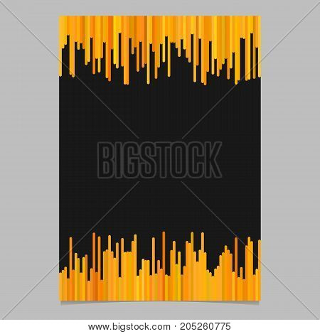 Blank brochure template from vertical lines in orange tones - vector poster illustration with black background
