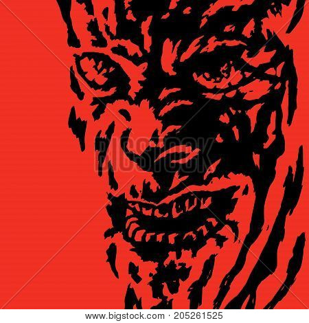Horror face of the monster. Vector illustration. Genre of horror. Scary character head for halloween.