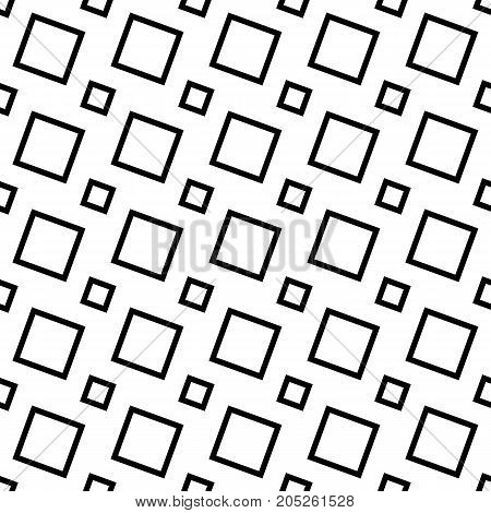 Black and white abstract seamless geometric square pattern - vector background graphic design from angular squares