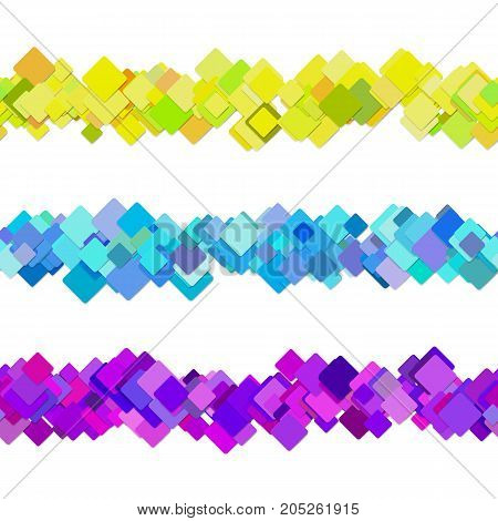 Repeatable square pattern paragraph rule line design set - vector graphic decoration elements from colored diagonal rounded squares