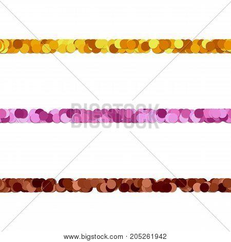 Seamless abstract dot pattern paragraph divider line design set - vector graphic design elements from colored circles