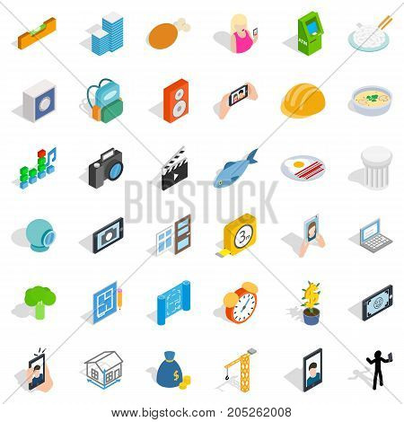 Characteristic icons set. Isometric style of 36 characteristic vector icons for web isolated on white background