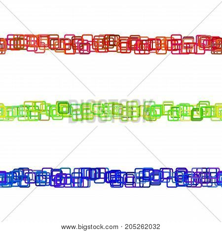 Repeatable chaotic square pattern paragraph rule line design set - vector decoration elements from colored rounded squares