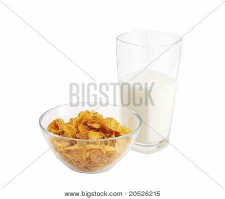 Healthy Breakfast With Cereal And Glass Of Milk