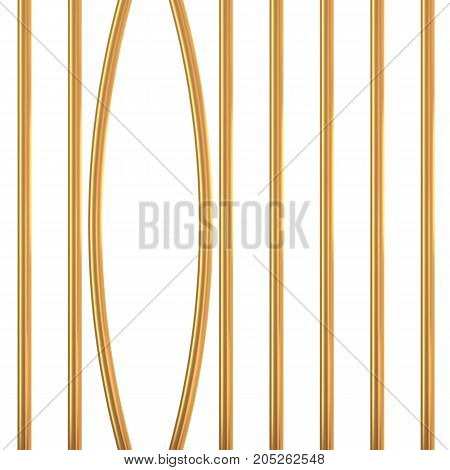 Broken golden prison bars isolated on white. Vector illustration. Way out to freedom from gold cage concept