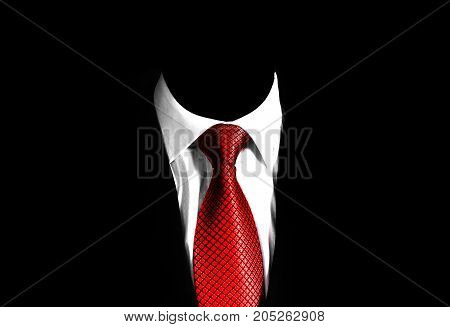 business man suit with a red tie on a black background